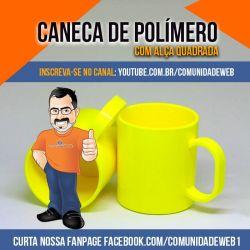 Caneca de Polímero Amarela Alça Quadrada