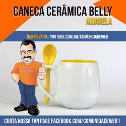 Caneca de Cerâmica Belly Amarelo com Colher para Forninho