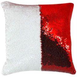 Capa de Almofada Lantejoula para Sublimação Vermelho e Branco