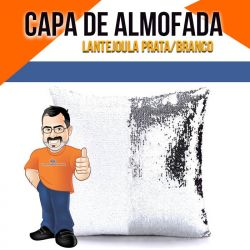 Capa de Almofada Lantejoula para Sublimação Prata e Branco